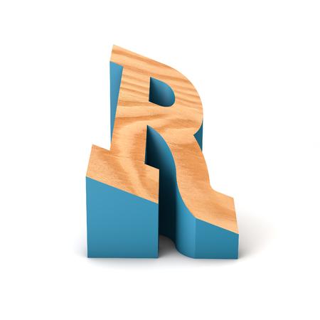 Letter R wooden angled font. 3D Rendering