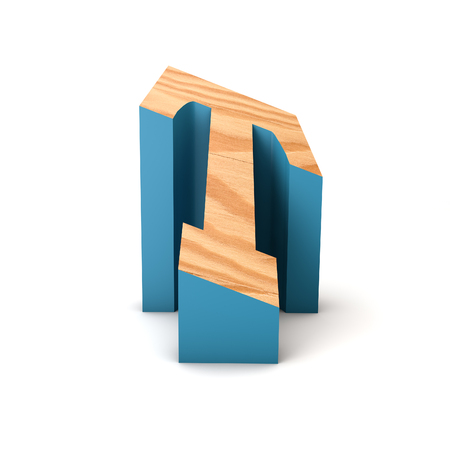 Letter T wooden angled font. 3D Rendering 写真素材