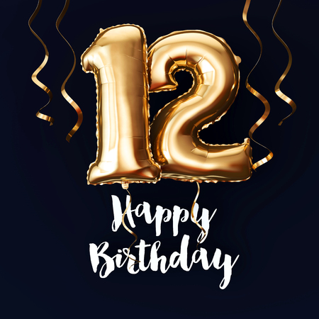 Happy 12th Birthday gold foil balloon background with ribbons. 3D Render Imagens