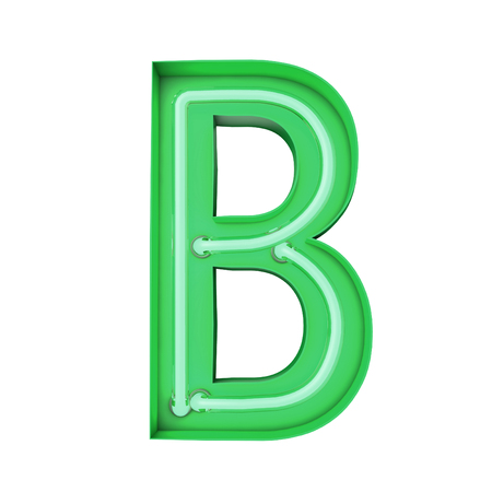 Neon style light letter B. Glowing neon Capital letter. 3D rendering