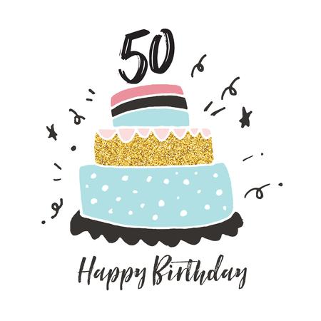 50. Geburtstag handgezeichnete Kuchen Geburtstagskarte