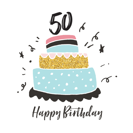 50th birthday hand drawn cake birthday card