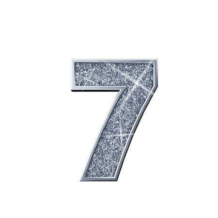 Silver glitter number 7. Shiny sparkling number. 3D rendering 写真素材