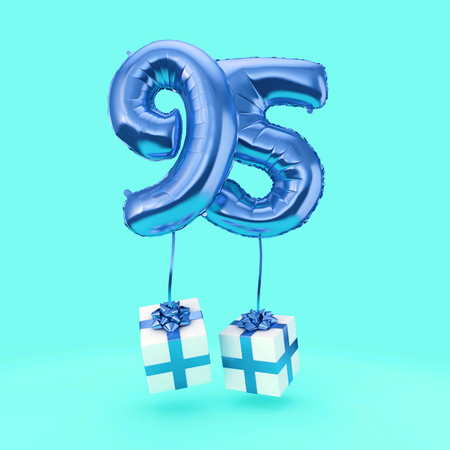 Number 95 birthday celebration foil helium balloon with presents. 3D Render