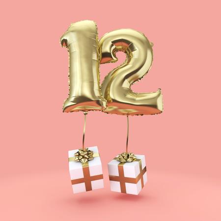 Celebración del cumpleaños número 12 con globos de helio de lámina de oro con regalos. Render 3D Foto de archivo