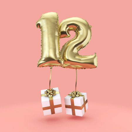 Number 12 birthday celebration gold foil helium balloon with presents. 3D Render Imagens