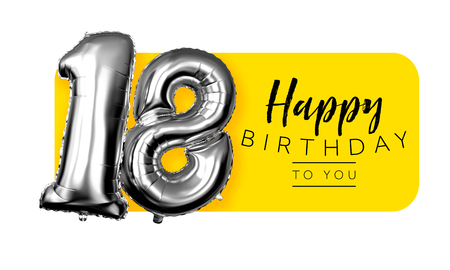 Happy 18th birthday yellow greeting background. 3D Rendering
