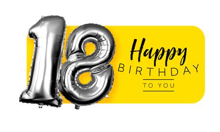 Happy 18th birthday yellow greeting background. 3D Rendering Archivio Fotografico - 123234989
