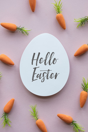 Easter message background with easter eggs and carrots Stok Fotoğraf - 123234994
