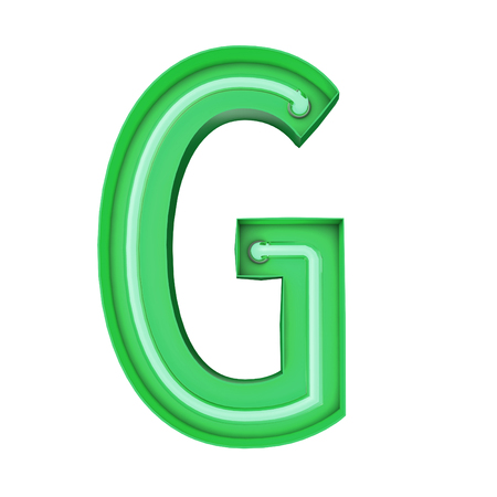 Neon style light letter G. Glowing neon Capital letter. 3D rendering