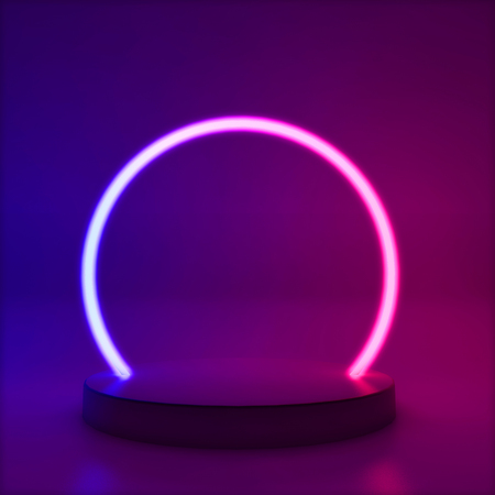 Neon glowing line circle, abstract modern podium frame , 3D Rendering Reklamní fotografie