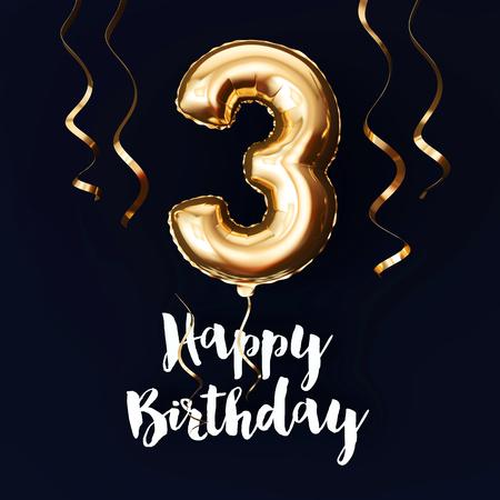 Feliz 3er cumpleaños fondo de globo de lámina de oro con cintas. Render 3D