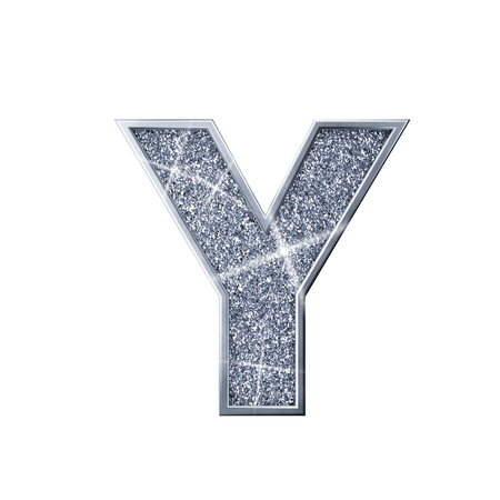 Silver glitter letter Y. Shiny sparkling capital letter. 3D rendering