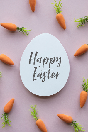 Easter message background with easter eggs and carrots
