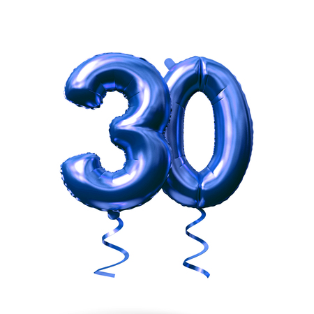 Number 30 blue foil helium balloon isolated on a white background. 3D Render