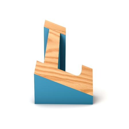 Letter L wooden angled font. 3D Rendering 写真素材
