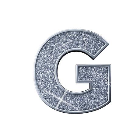 Silver glitter letter G. Shiny sparkling capital letter. 3D rendering