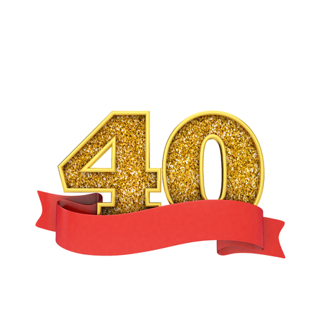 Number 40 gold glitter celebration with a red scroll banner. 3D Render