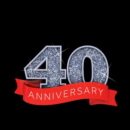 Number 40 silver sparkling anniversay celebration banner. 3D Render Banco de Imagens