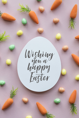 Easter message background with easter eggs and carrots Stok Fotoğraf - 123234471