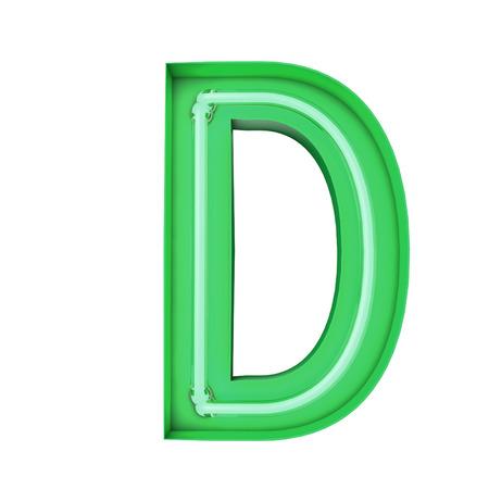 Neon style light letter D. Glowing neon Capital letter. 3D rendering 写真素材