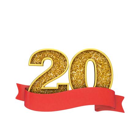 Celebración del brillo del oro número 20 con un banner de desplazamiento rojo. Render 3D