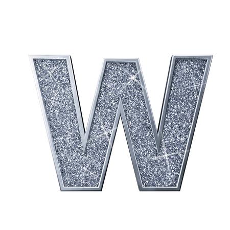 Silver glitter letter W. Shiny sparkling capital letter. 3D rendering 写真素材
