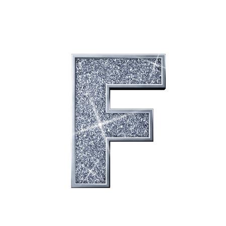 Silver glitter letter F. Shiny sparkling capital letter. 3D rendering 写真素材