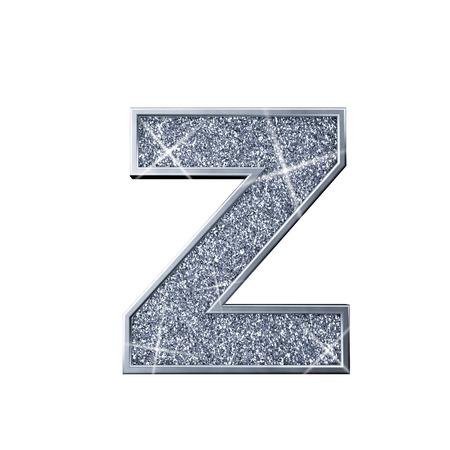 Silver glitter letter Z. Shiny sparkling capital letter. 3D rendering