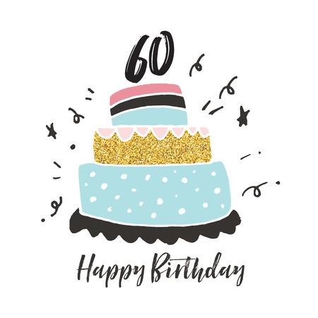 60th birthday hand drawn cake birthday card
