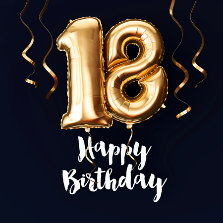 Happy 18th Birthday gold foil balloon background with ribbons. 3D Render