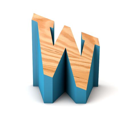 Letter W wooden angled font. 3D Rendering