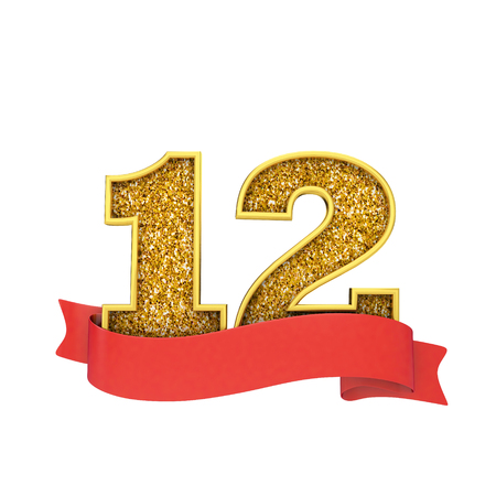 Number 12 gold glitter celebration with a red scroll banner. 3D Render