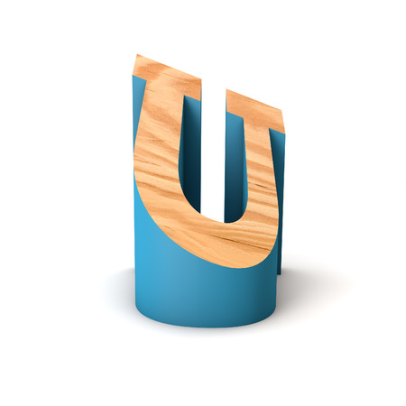 Letter U wooden angled font. 3D Rendering 写真素材