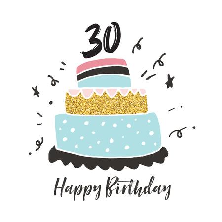 30th birthday hand drawn cake birthday card
