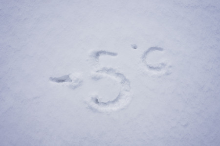 minus 5 degree celsius written into a snow background
