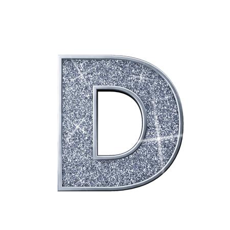 Silver glitter letter D. Shiny sparkling capital letter. 3D rendering 写真素材
