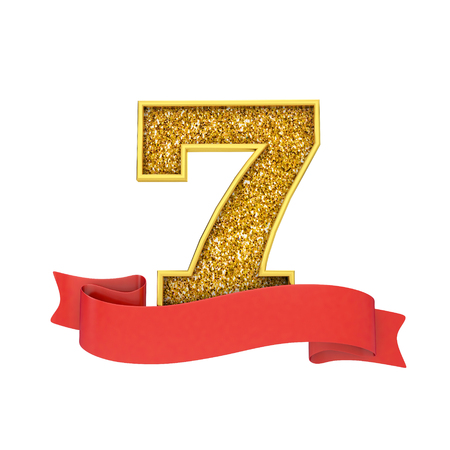 Number 7 gold glitter celebration with a red scroll banner. 3D Render