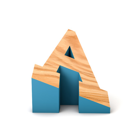 Letter A wooden angled font. 3D Rendering