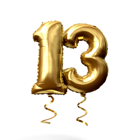 Number 13 gold foil helium balloon isolated on a white background. 3D Render Archivio Fotografico - 123233723
