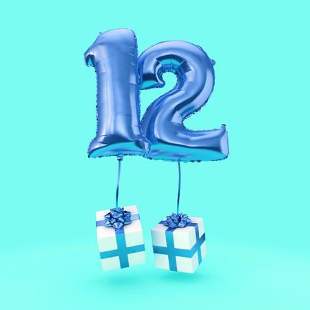 Number 12 birthday celebration foil helium balloon with presents. 3D Render Imagens