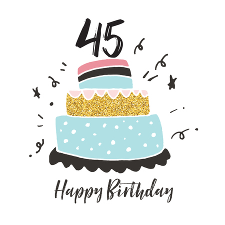 45th birthday hand drawn cake birthday card