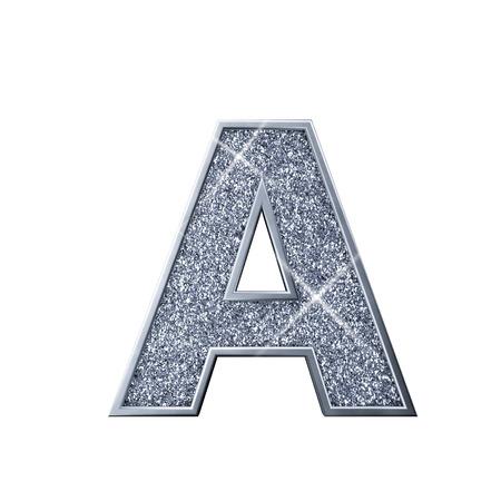 Silver glitter letter A. Shiny sparkling capital letter. 3D rendering