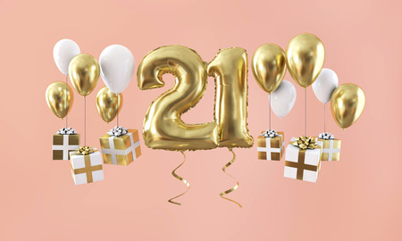 Number 21 birthday celebration gold balloon with presents. 3D Render