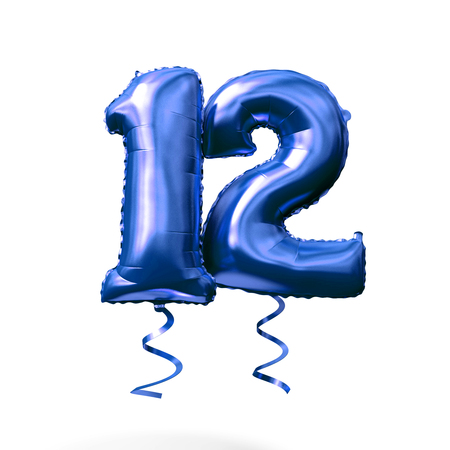 Number 12 blue foil helium balloon isolated on a white background. 3D Render