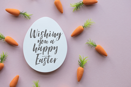 Easter message background with easter eggs and carrots Stok Fotoğraf - 123233563