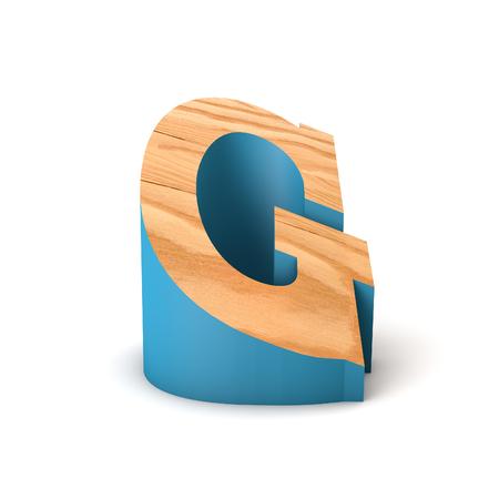 Letter G wooden angled font. 3D Rendering