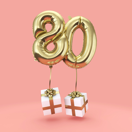 Number 80 birthday celebration gold foil helium balloon with presents. 3D Render