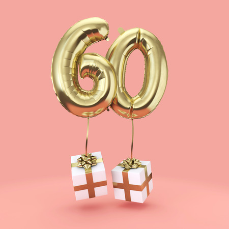 Number 60 birthday celebration gold foil helium balloon with presents. 3D Render