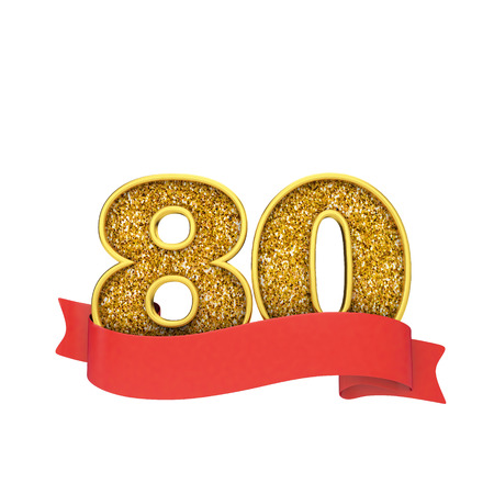 Number 80 gold glitter celebration with a red scroll banner. 3D Render